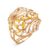 Позолоченное кольцо с фианитами желтого цвета 005 - п