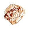 Позолоченное кольцо с фианитами цвета гранат 005 - п