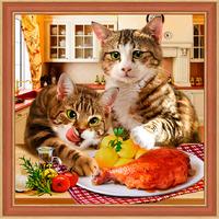 Картина стразами (набор) «Коты воришки»