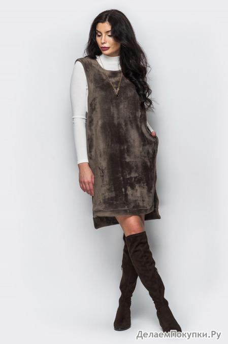 Теплое платье из меха