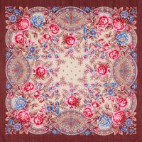 """Платок шерстяной с шелковой бахромой """"Кумушка"""", вид 16, 89x89 см Рисунок 1453-16"""