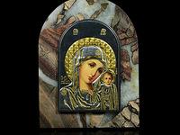 """Икона из яшмы арка на подставке """"Богородица Казанская"""" 85*110*35мм, в упаковке, 300гр. Артикул:3401760шп"""