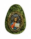 Яйцо из серпентенита с орнаментом Иисус Христос, 80*30*105мм, 130гр Артикул:1314036