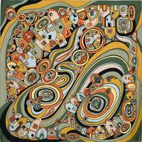 """Платок шелковый (атлас) """"Солнечный город"""", вид 9, 89х89 см Рисунок 1246-9"""