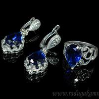 Кольцо серьги с цирконом искусственным, цв.синий размер 19 Артикул:КС525056-19