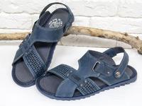 Мужские сандалии-шлепки из нубука темно-синего цвета, на ребристой прорезиненной подошве, С-12