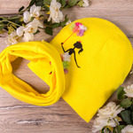 Набор: шапка формы лопата+снуд из двойного трикотажа, балерина, жёлтая