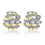 Mytys Vintage Earrings Studs/Dangle 2 Tone Silver Earrings Fashion Designer Statement Earrings