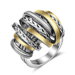 Mytys Cable Silver Rings 2 Tone Gold Designer Knot Intertwined Crossover Finger Statement Ring for Women Men