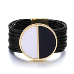 Mytys Multi-Layer Leather Rope Bracelet Buckle Bangle Bracelet with Magnetic Clasp for Women Girl with Gift Box