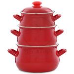 Набор посуды ЭТ-72220 красный 2,0+3,0+4,5 л грушевидный
