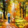 Картина по номерам Paintboy «прогулка с собакой в осеннем лесу»