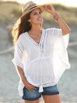 Модная блуза с кружевной вставкой из