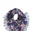 Платок-палантин Трикотаж Синий с цветами