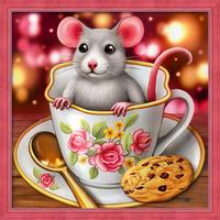 Картина стразами (набор) «Крысенок в чашке»