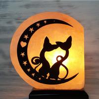 """Солевая лампа """"Коты на луне"""" большие 2-3 кг из гималайской соли"""