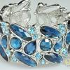 """Роскошный, вечерний браслет из крупных сверкающих кристаллов цвета """"сапфир"""". БРАСЛЕТ-BR60899"""