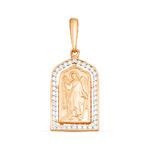 Подвеска-иконка из золочёного серебра с фианитами - Ангел Хранитель