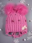 Шапка вязаная для девочки, на завязках, бусины, на отвороте розочка и пушок, темно-розовый