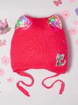 Шапка вязаная для девочки со светящимися ушками на завязках, кошка из пайеток, фуксия