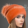 шапка женская Оливия норка трикотаж оранж