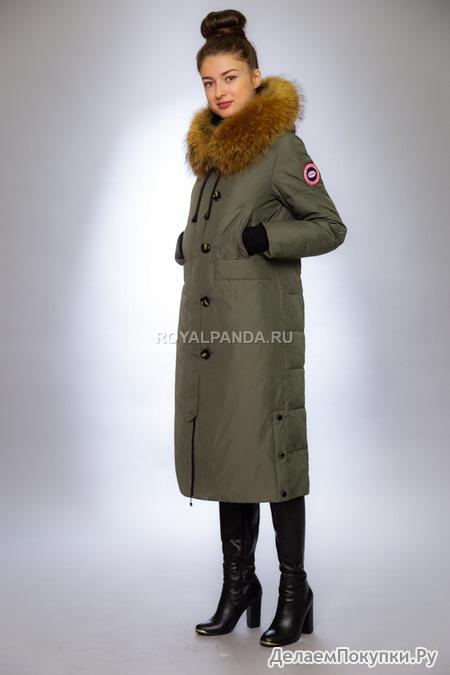 Женская куртка зимняя 19-208 фисташка натуральный мех