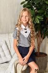 Блузка школьная, серая, р-ры 134-164