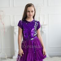 Платье нарядное со съемной юбкой арт. ИР-1705, цвет сирень/пайетки