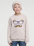 SV33BG-M0007 Свитшот для мальчика бежевый меланж с принтом Усы,очки,хипстеры