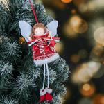 """Мягкая подвеска """"Ангел - девочка со звёздами в платье со снежинками"""" 16 см"""