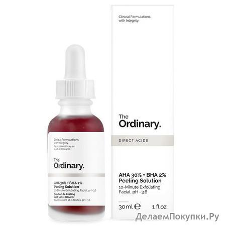 Кислотный пилинг для лица The Ordinary AHA 30% + BHA 2% Peeling Solution, 30 мл