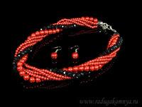 Бусы, серьги из майорки 6 нитей с цирконом цв.бордово-черный, 44см Артикул:11106246