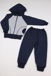 Костюм трикотажный Сине-серый с капюшоном р-р 86-140