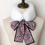 FER-201 Меховой шарф с завязками, модная стильная горжетка.