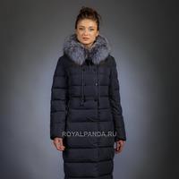 Женская куртка зимняя 851 синий натуральный мех