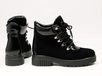Ботинки со шнуровкой черного цвета из замши и наплака Арт. As-3/17