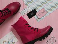 Ботинки из кожи и замши цвета фуксии со шнуровкой на тракторной подошве Арт. 12-6(S2)