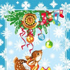 Полотенце новогоднее Оленёнок / синий