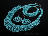 Колье 48см,браслет 19см, серьги из циркона цв.голубой Артикул:КБ204080