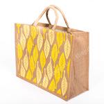 Джутовая сумка Листья жёлтые