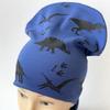 """Комплект трикотажный шапка+снуд """"Динозавры"""" синего цвета"""