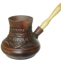 Турка 0,5л с деревянной ручкой декор красная глина