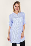 Рубашка в утонченную полоску - Аура - 424 - голубой