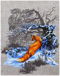 Полотенце рогожка ЛИСА - в лесу р-р 50х60  (в наличии)
