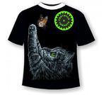Детская футболка Котенок с бабочкой 1030