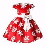 """Детское красное платье с принтом """"снежинка"""" 150"""