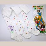 Детские хлопковые колготки с пяточкой белые с нежным цветочным рисунком арт.C732