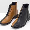 Уникальные дизайнерские ботинки табачного и черного цвета из итальянской натуральной матовой кожи, на модной подошве с квадратными элементами. Современная классика от Джино Фиджини, Б-19142-04