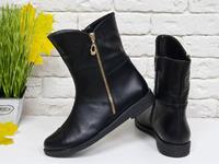 Удобные классические ботинки из черной кожи на прорезиненной облегченной подошве, М-20