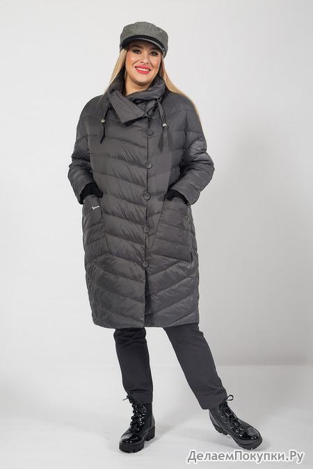 Легкое стеганое пальто на синтепоне(58-72)